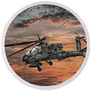 Ah-64 Apache Attack Helicopter Round Beach Towel