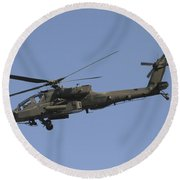 Ah-64 Apache In Flight Over The Baghdad Round Beach Towel