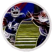 Ahmad Bradshaw Round Beach Towel by Paul Ward