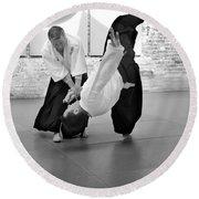 Aikido Wrist Lock  Round Beach Towel