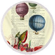 Hot Air Balloons Above Flower Field Round Beach Towel