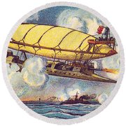 Air Battle, 1900s French Postcard Round Beach Towel