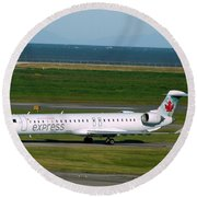 Air Canada Express Crj Taxis Into The Terminal Round Beach Towel