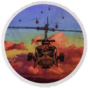 Air Cavalry Bell Uh-1 Huey  Round Beach Towel