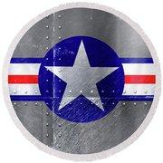 Air Force Logo On Riveted Steel Plane Fuselage Round Beach Towel