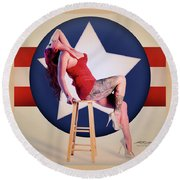 Air Force Pinup With Calypso Jean Round Beach Towel