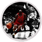 Air Jordan On Shaq Round Beach Towel
