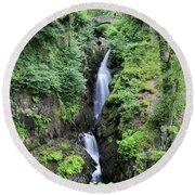 Aira Force Waterfall, Aira Beck, Ullswater, Lake District Round Beach Towel