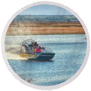Airboat Rides Round Beach Towel