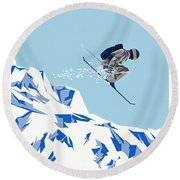 Airborn Skier Flying Down The Ski Slopes Round Beach Towel