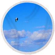Airborne Kitesurfer  Round Beach Towel