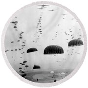 Airborne Mission During Ww2  Round Beach Towel