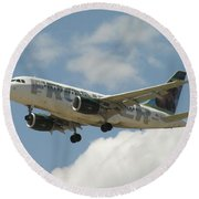 Airbus A320 Denver International Airport Round Beach Towel