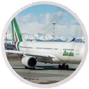 Airbus A330 Alitalia With New Livery  Round Beach Towel