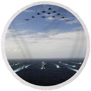 Aircraft Fly Over A Group Of U.s Round Beach Towel