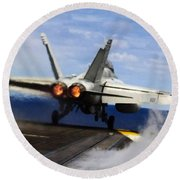 aircraft military F 18 Hornet Round Beach Towel