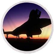 Aircraft Silhouette Round Beach Towel
