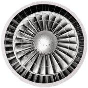 Aircraft Turbofan Engine Round Beach Towel