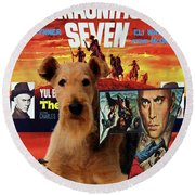 Airedale Terrier Art Canvas Print - The Magnificent Seven Movie Poster Round Beach Towel