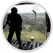 Airman Watches A Practice Bundle Fall Round Beach Towel by Stocktrek Images