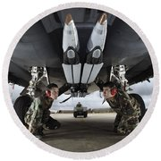 Airmen Check The Gbu-39 Small Diameter Round Beach Towel by Stocktrek Images