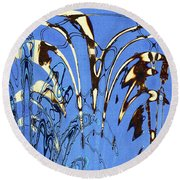 Airplane And Crane Abstract Round Beach Towel