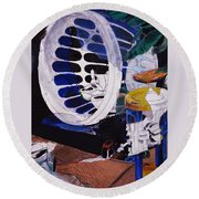 Airplane In A Laundry Basket Round Beach Towel