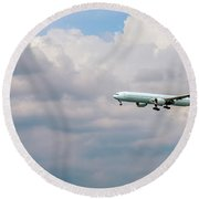 Airplane In The Sky Round Beach Towel