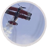 Airplane Performing Stunts At Airshow Photo Poster Print Round Beach Towel
