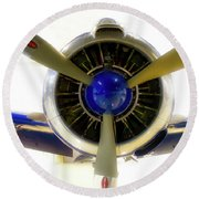 Airplane Propeller And Engine T28 Trojan 01 Round Beach Towel