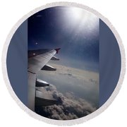 Airplane Wing In Clouds Round Beach Towel
