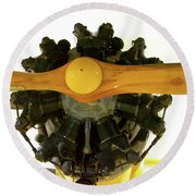 Airplane Wooden Propeller And Engine Timm N2t-1 Tutor Round Beach Towel