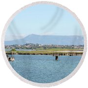 airport on Corfu island Greece Round Beach Towel