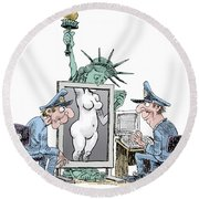 Airport Security And Liberty Round Beach Towel