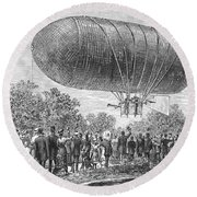 Airship Ascent, 1883 Round Beach Towel