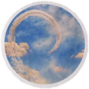 Airshow At The Lou Round Beach Towel by Susan Rissi Tregoning