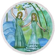 Airy Four Of Wands Illustrated Round Beach Towel