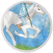 Airy Knight Of Wands Round Beach Towel