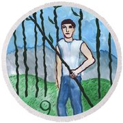 Airy Nine Of Wands Illustrated Round Beach Towel