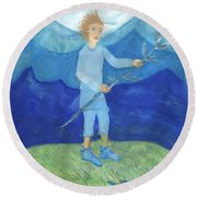 Airy Page Of Wands Round Beach Towel