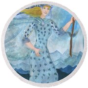 Airy Queen Of Wands Round Beach Towel