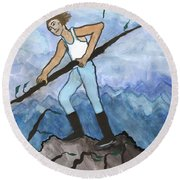 Airy Seven Of Wands Illustrated Round Beach Towel