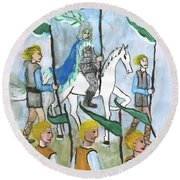 Airy Six Of Wands Illustrated Round Beach Towel