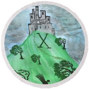 Airy Ten Of Wands Illustrated Round Beach Towel