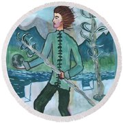 Airy Two Of Wands Illustrated Round Beach Towel