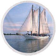 Aj Meerwald Sailing Up River Round Beach Towel