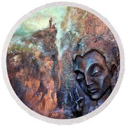 Ajanta Buddha Round Beach Towel