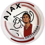 Ajax Amsterdam Painting Round Beach Towel