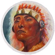 Akecheta, Native American Round Beach Towel