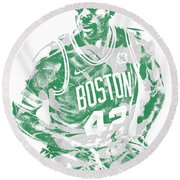 Al Horford Boston Celtics Pixel Art 6 Round Beach Towel